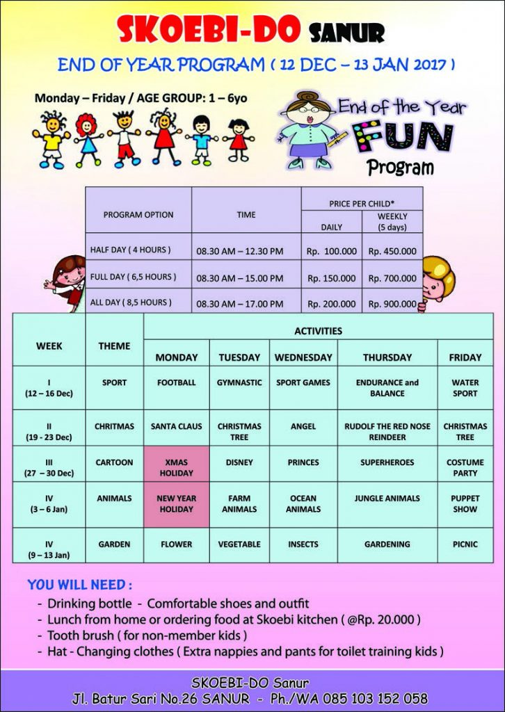 Come and Join our Interesting and FUN holiday Program