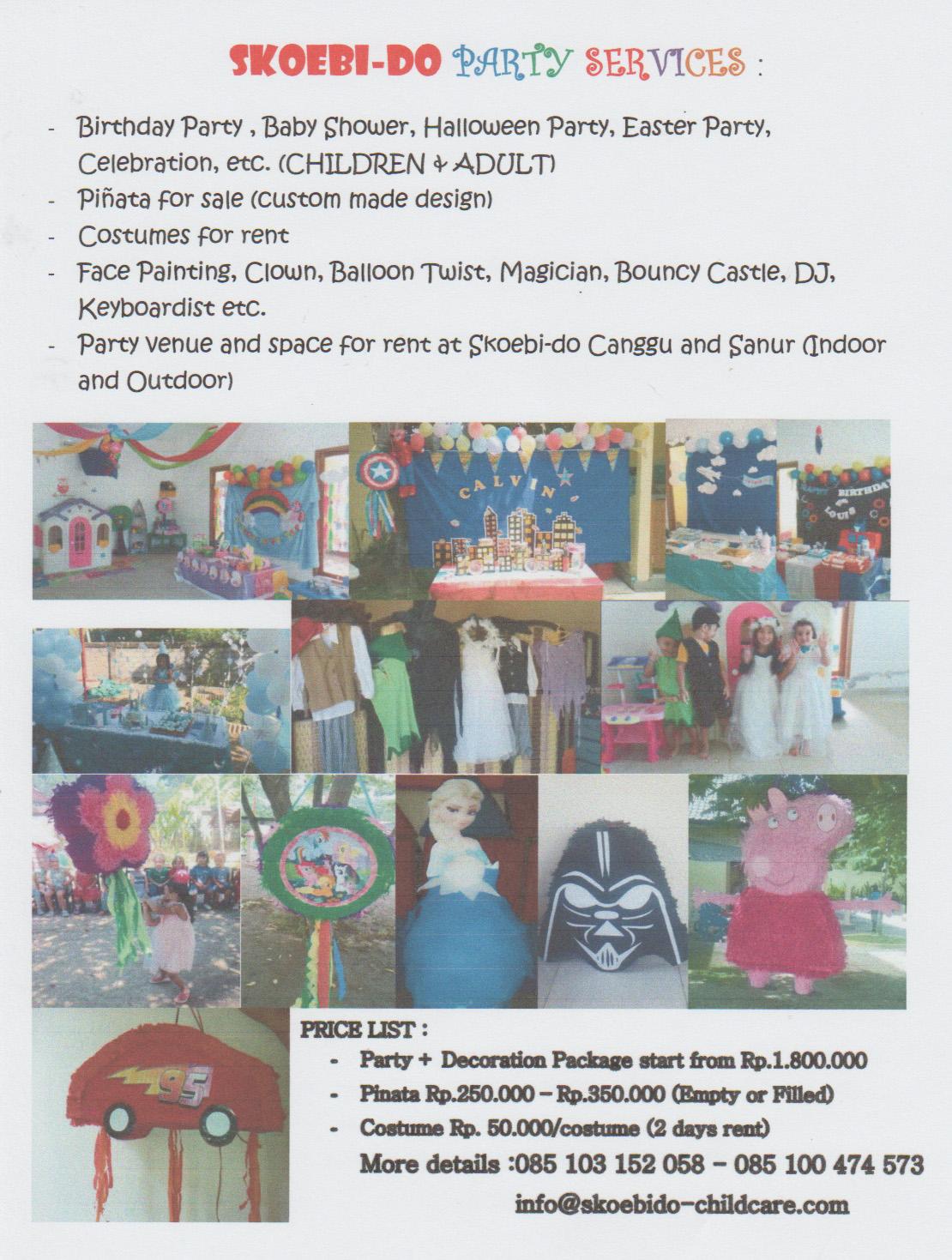 PARTY SERVICE – Skoebi-do Childcare